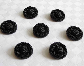 7 fabulous  X-large  attractive  glass buttons - their surfaces have a beautiful  crochet design  - ( 31 mm  - 1. 1/4 in.)