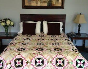 """Queen Sized Bed Quilt - """"Spring Garden"""""""