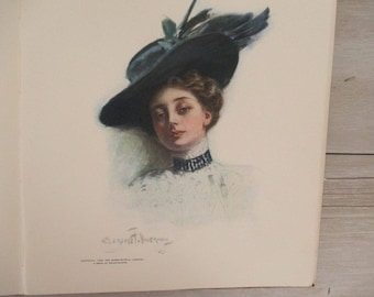Antique Art Book Published 1908 Colored Sketches Paper Empherma