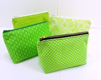 ONE Zippered Pouch / Green Polka Dot Make Up Bag / Zippered Travel Case / Small Travel Pouch / 6 Inch Zippered Bag