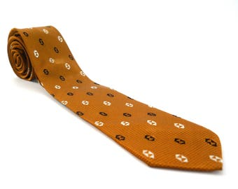 Vintage Mid Century Men's Tie • Lord Copley Rhodia Woven in France • 100% Acetate Brown Black White