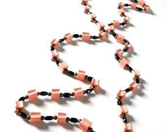 Vintage Beaded Necklace • Pink and Black Necklace Long Strand