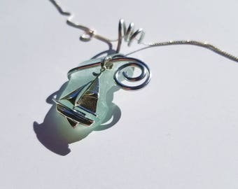 Pale aqua blue Sea Glass Necklace handmade with sterling Sailboat with aluminum bale