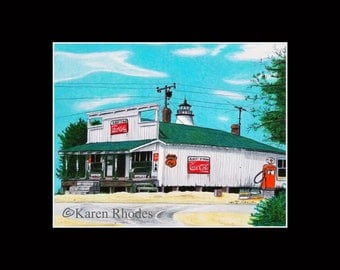 11x14 Albert Styron Store Matted and signed Print 1950s rendering Ocracoke North Carolina