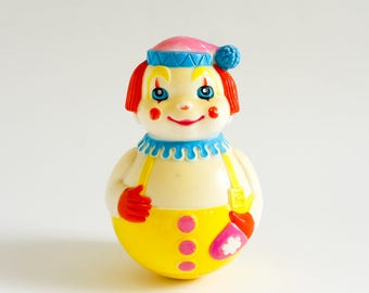Vintage 1970s Baby Toy / The First Years Roly Poly Chime Clown 1972 / Blue Yellow Smiling Wobble Sound Action Nostalgic Collectible Toy