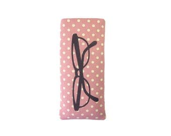 Pink Polka Dot Glasses Case, Glasses Pouch, Personalised Gift for Her, Spectacles Case, Custom Gift for Women