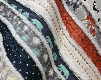 Baby Rag Quilt, Toddler Quilt Boy Rag Quilt Crib Bedding, Woodland- Rustic- Fox, Deer, Buck-Antler-Navy Blue-Gray-Mint
