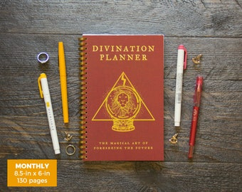 Divination Planner Notebook - Red  / Monthly / Half-Size / 24 Months / Pick Your Own Starting Month