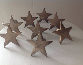Napkin Rings Star Shaped ~ Aged Tarnished Metal Rings For Napkins ~ Kitchen Decor ~ Repurpose ~ Set Of Eight Napkin Rings ~ Home Decor