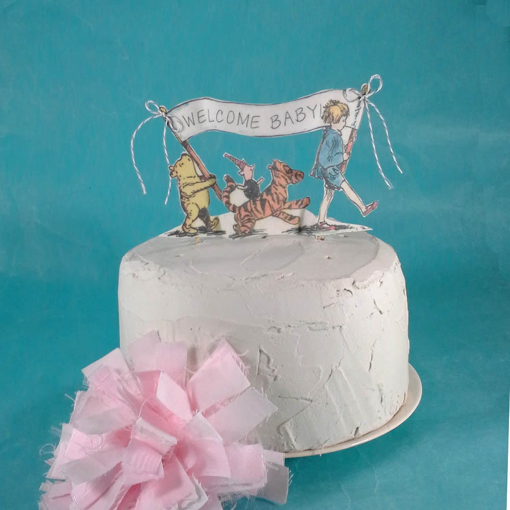 Classic Pooh Bear Cake Topper, Fabric Winnie The Pooh Baby Shower Cake, J195