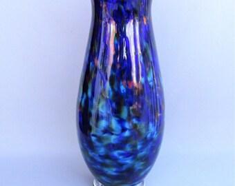 Hand Blown Art Glass Blue Multicolored Vase