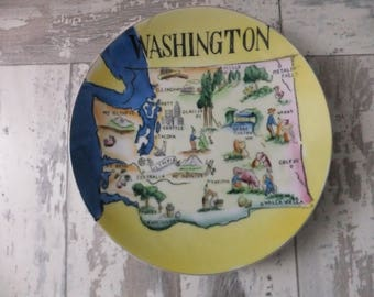 Vintage Washington State Souvenir Decorative Plate Hand Painted Yellow and Blue Japan Collector Retro Wall Decor Display Vacation Travel