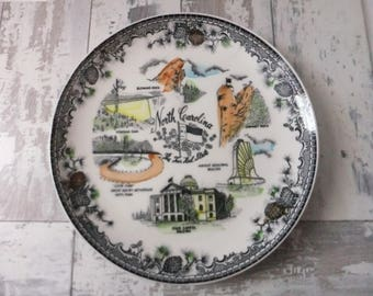 Vintage Plate North Carolina Decorative Collector Tar Heel State Travel Souvenir Wall Decor NC Cabinet