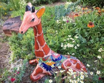 Huge vintage Talavera pottery giraffe statue, Mexican pottery, ceramics and pottery, Mexican decor, giraffe gift, jungalow garden decor