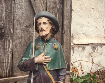 Large chalkware statue of Saint Rocco Patron Saint of Dogs & Ailments (broken and restored), vintage St. Roche figurne, French Country decor
