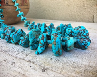 Old Pawn 175gm Lone Mountain turquoise nugget necklace museum quality