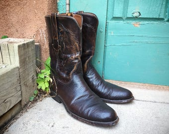 Vintage Lucchese cowboy boot Men's Size 8.5 D black cherry brown leather boot