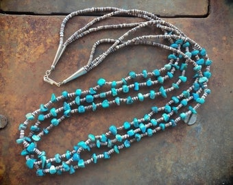 Three Strand Natural Turquoise Olive Shell Heishi Necklace Santo Domingo Jewelry Native American