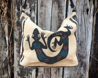 Vintage Southwestern Purse Lizard Totem Woven Cotton, Reptile Lover Gift, Fabric Tote Bag