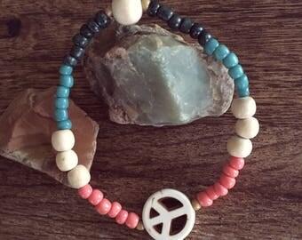 Boho Peace Sign Beaded Stacker Bracelet