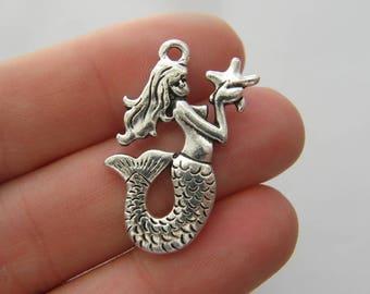 2 Mermaid charms antique silver tone SC101