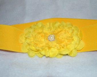 Chiffon Flower cinch belt, Wide elastic stretch corset belt, Hot Pink stretch belt, Wide belt, Yellow belt, yellow stretch belt