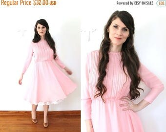 ON SALE 70s Pink Dress / 1970s Sheer Petal Rose Pink Full Skirt Dress