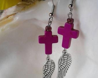 Purple Cross Angel Wings Earrings