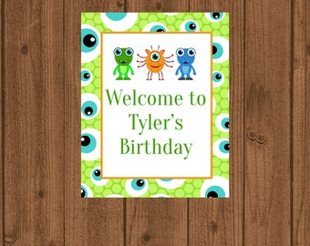 Birthday Welcome Sign, Monster Birthday, Monster Welcome Door Sign, Boy Birthday Party, Printable Welcome Sign, Alien's Martian's Birthday