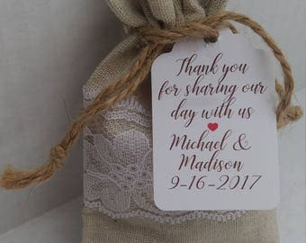 Rustic Wedding Favor, Linen and Lace Wedding Favor Bag and Gift Tag, Rustic Wedding, Beach Wedding, Wedding Favor Bag, Wedding Tag