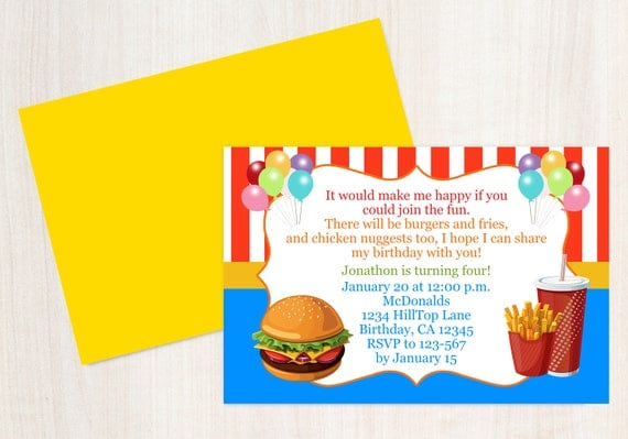 Fast Food Birthday Invitation Kids Birthday Invitation Hamburger
