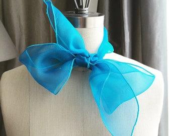 NEW Aqua Hand Dyed Silk Organza scarf for Endless summer/ Head scarf/Hair scarf/pool day/summer day/ beach day/ summer in a city