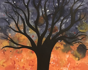 Nightfall - large ORIGINAL watercolour painting on paper of a tree at sunset dusk twilight