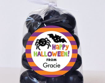 Halloween Stickers - Happy Halloween Spider & Bat - Sheet of 12 or 24