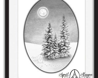 Fox Tracks-fox-tracks- Black and white-forest -pine tree- moon- Christmas tree- full moon- winter- art- April Alayne