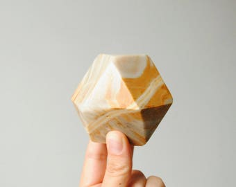 Vintage Agate Paperweight, Tetradecagon Paperweight