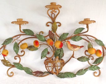 Vintage Italian Tole Candle Holder Sconce Fruit and Birds