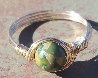 25% Off Sale Rhyolite 14k Gold Filled Or Argentium Sterling Silver Wire Wrapped Ring Custom Sized -Made To Order
