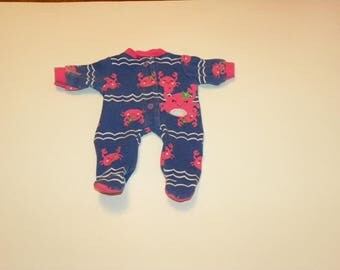 Blue Little Crab Patterned Footed Sleeper - 12 inch doll clothes