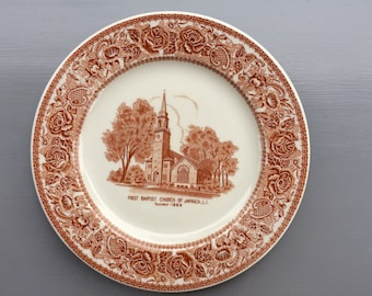 Vintage Mayer Plate features First  Baptist Church of Jamaica, LI
