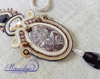 Fossil stone necklace, Soutache necklace, jurassic necklace, Archaeologist Gift, fiber art necklace, textile necklace, embroidered necklace