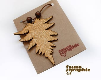 Wooden Fern Pendant by Faunagraphic