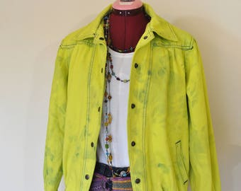 "Chartreuse Medium Denim JACKET - Yellow Dyed Upcycled Ruth Douglas Vintage 80s Denim Trucker Jacket - Adult Womens Sz Medium (42"" chest)"
