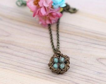 Bronze wire birds nest pendant necklace, brass bird nest charm with 1-4 eggs, custom mom jewelry, Free Shipping