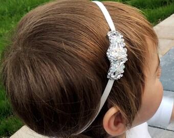 Wedding flower girl communion headband communion headpiece Girls Communion Baptism Christening Vintage Inspired Wedding