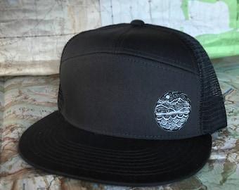 Mountain landscape 5 panel flatfish brim trucker hat