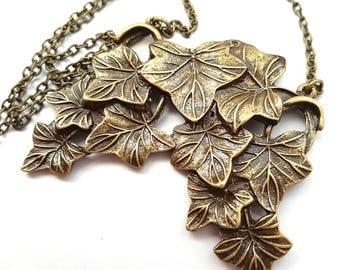 Big Bronze Ivy Leaves Necklace, Large Leaf Necklace, Nature Necklace, Statement Necklace, Bib Necklace, Woodland Necklace