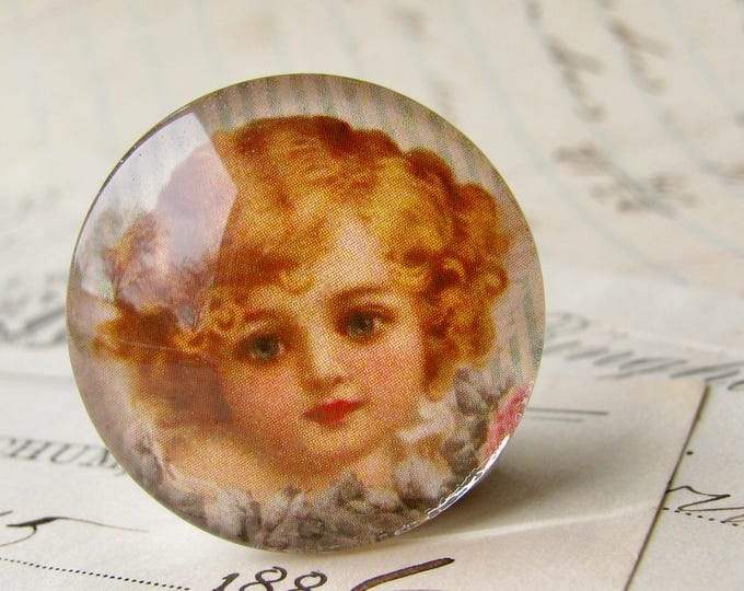 Face of an angel, handmade glass cabochon, round 25mm cabochon, 1 inch circle, Victorian girl, vintage illustration, bottlecap, bottle cap