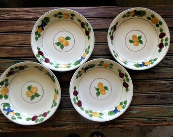 Soup Bowls by Adams, Royal Ivory Titian Antique, Hand Painted with Berries & Fruit
