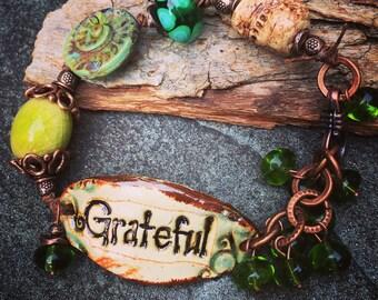 Grateful Bracelet, Word Bracelet, Spiritual Jewelry, Spiritual Bracelet, Knotted Bracelet, Earthy Jewelry, Green, Lampwork, YaY Jewelry